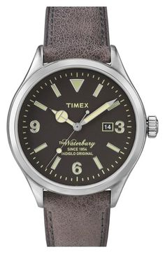 Timex The Waterbury - Horloge - 41 mm - Grijs - Leer Amazing Watches, Cool Watches, Watches For Men, Wrist Watches, Brown Leather Strap Watch, Timex Watches, Sport Watches, Link Bracelets, Watches
