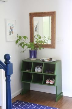 Emily Henderson — Stylist - BLOG - Inside the finished Lake House, post #6: stairway cubby, like the blue and green