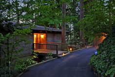 Your home is your getaway in this beautifully engineered, meticulously maintained home perched high amongst the evergreens. The house feels like it's floating above the trees as nearly every room, including bedrooms, has direct access to one of two wraparound decks, both of which are securely suspended high above the forest floor. The current owners have made key adjustments, including a custom Henrybuilt kitchen... #modernhome #midcenturymodern
