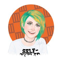 Hayley #13. Look: Paramore, Monumentour Interview by Just Green. Hayley Williams, green hair, yellow hair, orange hair, self titled, hairstyles