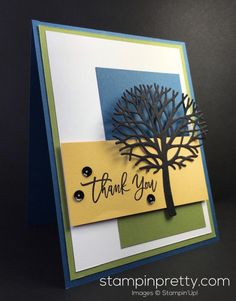 A beautiful thank you card using the Stampin' Up! Thoughtful Branches bundle (available for a limited time). 1000+ card ideas & daily tips!