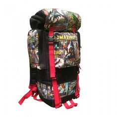 This retro print camping backpack has multi-functional pockets including an insulated right pocket, and many features to help you prep for the trails. It features an adjustable aluminum frame bar for back support. Also comes with a tuck-away waterproof rain cover and compression straps to attach a sleeping bag. An adjustable waist belt with mesh padding wicks moisture. The molded foam back panel will offer some support to your back.
