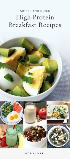 quick breakfast If you are looking to lose weight or get more protein in your diet, a healthy breakfast is a must. These quick breakfast recipes take under 10 minutes to prep, and contain at least 15 grams of protein. Quick High Protein Breakfast, Protein Dinner, Quick Breakfast Ideas, Breakfast Snacks, Healthy Protein Breakfast Ideas, Breakfast That Keeps You Full, Breakfast Protein Smoothie, Avacado Breakfast, Healthy Breakfast Recipes For Weight Loss