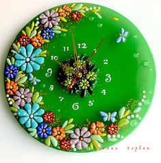 моя работа из стекла, фьюзинг Mosaic Art, Mosaic Glass, Fused Glass, Glass Art, Clock Painting, Clock Art, Clocks, Cd Crafts, Stained Glass Flowers