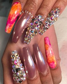 Bling nail art design for long nails | ghetto nail art ideas | acrylic gel nails unas | #nailart