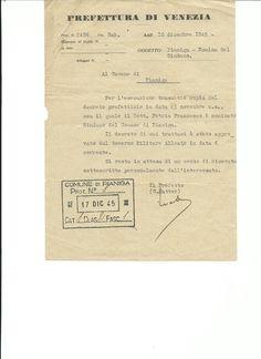 Decreto Prefetto di Venezia del 23  novembre 1945 con cui Petrin Francesco (1906-1980) viene nominato primo Sindaco del Comune di Pianiga. Wikipedia https://it.wikipedia.org/wiki/Francesco_Petrin
