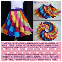 "This would look great with a double gauze or one of our knits Free Sewing Pattern: Peppermint Swirl Skirt. This free sewing pattern is for the ""Peppermint Swirl Skirt"". Sewing Patterns Free, Free Sewing, Sewing Tutorials, Clothing Patterns, Sewing Crafts, Sewing Projects, Sewing Tips, Sewing Hacks, Free Pattern"
