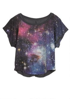 Short-sleeve galactic print chiffon top with jewel embellishment and knit back detail.