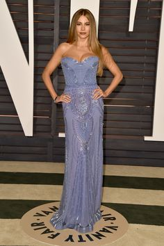 The actress dropped jaws at the Vanity Fair Oscars party with her beaded Zuhair Murad gown.