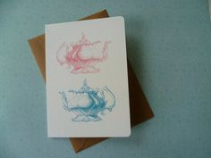 Vintage Teapots art card by arbeecards on Etsy