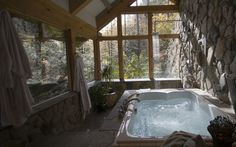 Best bathroom ever!  Unique Mountain Cabins in North Carolina ( in Creekside Cabin)