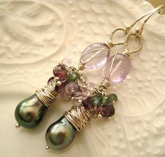 Genuine Tahitian Pearl and Multi Gemstone Earrings-Le Paon by Etsy designer thebijoubabe