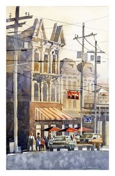 "Down on Magazine, New Orleans by Iain Stewart Watercolor ~ 13.5"" x 8.5""http://iainstew.fineartstudioonline.com/collections/40631"