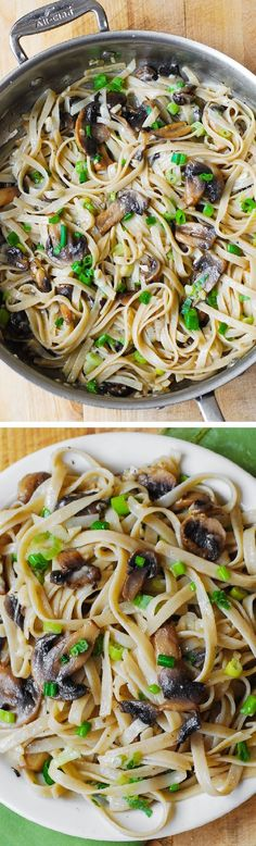 Garlic Mushroom Fettuccine Pasta smothered in butter and shredded Parmesan. Simple, 30 minute meal that tastes like it's from a fancy Italian restaurant!