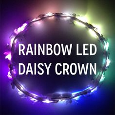 ✿White daisy flower crown with rainbow LEDs✿ NOT your average flower crown! :D Made with Love & Light for Day & Night ☽ ☼ Perfect for standing out at music festivals and concerts! Cant decide on a color? Then the rainbow crown is for you! Featuring all of our LED colors,