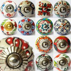 Mixed Artisan Designs -You Choose. Excellent for upcycling and customising kitchen, cabinets doors, cupboards, and bedroom drawers etc. Stunning collection of handmade ceramic door knobs. Cupboard Knobs, Cupboard Drawers, Drawer Knobs, Kitchen Knobs, Kitchen Hardware, Drawer Handles, Drawer Pulls, Shabby Chic Kitchen, Vintage Shabby Chic