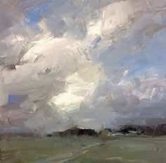 Clouds over the farmlands, painting by artist Parastoo Ganjei