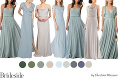 Sage, Blue and Neutral Mix and Match Bridesmaid Dresses. Join the (bridal) party at www.brideside.com/sign-up. Shop for the best bridesmaid dresses, meet your complimentary style consultant and try on dresses at home. #mixandmatchbridesmaids #bridalpartystyle #jennyyoobridesmaids