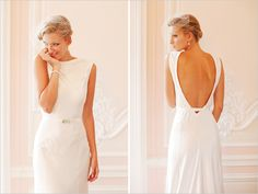 A simple wedding gown with a dramatic open back.