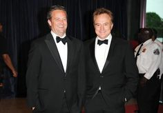 Actors Matthew Perry, left, and Bradley Whitford attend the White House Correspondents' Dinner at the Washington Hilton on Saturday April 27, 2013 in Washington. (Photo by (Evan Agostini/Invision/AP)