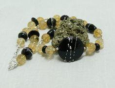 Black & Yellow Handmade Necklace, Handmade Lampwork Focal Bead, 20 1/2…