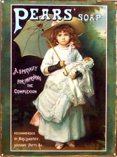 Pears Complextion Soap Metal Sign VictorianGirl with Doll, Bath, kid Room Decor for sale online