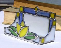 Yellow Tulip stained glass card holder by stephanieburciaga, $34.00
