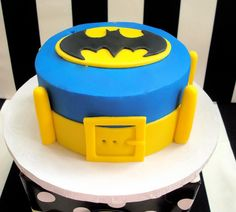 Anika's choice but in pink/purple.Batman cake