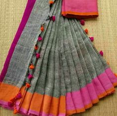 Linen Sarees from Maneeti..for enquiries and booking - Whatsapp 9539820656