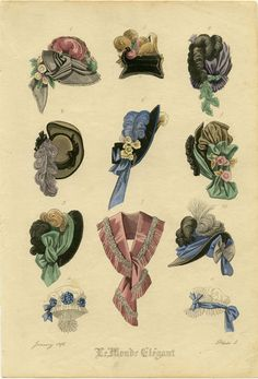 Hand colored engraving from Le Monde Elegant. January 1876. Plate 5 | HATS - 1870s