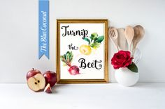 fun kitchen art Turnip the Beet watercolor by TheBlueCoconut