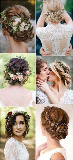 trending wedding hairstyles with flower crowns #bridalfashion #weddingideas #weddinghairstyle #weddingcrowns