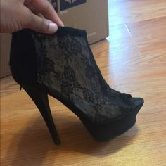 Bebe platform booties! Sexy Lacey black heels! Barely worn! but when I have, I always got so many compliments! Make them yours today 💫 bebe Shoes Ankle Boots & Booties