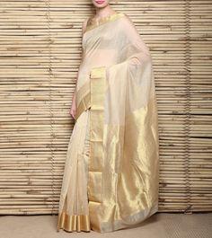 Beige Zari Woven Chanderi Saree  #Chanderi #Sarees