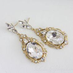 Gold Wedding Earrings Crystal Drop Earrings by LuluSplendor, $75.00