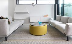 50 Minimalist Living Area Suggestions For A Gorgeous Contemporary House Neutral backdrop enables you to highlight colorful accents with ease Small Living Rooms, Living Room Furniture, Minimalist Living Room, Stairs In Living Room, Floor Tile Design, Minimal Living Room, Interior Design, Minimalist Living Room Design, Room Layout