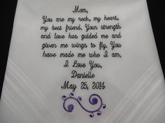 Free GIFT Box  included. Personalized Wedding Handkerchief for the Mother of the Bride or Mother of the Groom. Embroidered Custom Gift., $23.00