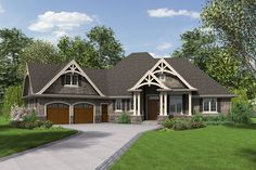 homes 2000 square feet single story | Craftsman Style House Plan - 3 Beds 2.5 Baths 2233 Sq/Ft Plan #48-639