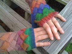 Ravelry: Entrelac Mitts in Crystal Place Yarns Mini Mochi