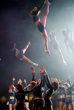cheerleading, cheer, cheerleader stunt competition in the air