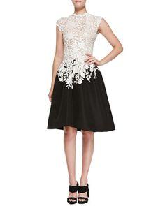 Lace & Faille High-Low Dress, Ivory/Black by Oscar de la Renta at Bergdorf Goodman.
