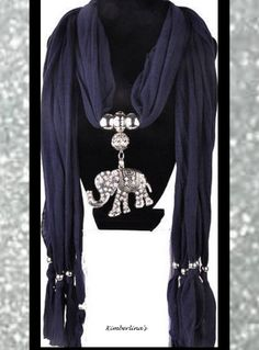 NAVY BLUE SILVER BLING BEADED JEWELED CRYSTAL ELEPHANT SCARF PENDANT NECKLACE