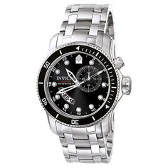 Invicta 6089 Men's Pro Diver Scuba Black Dial Stainless Steel GMT Watch,