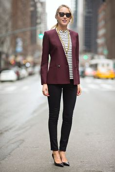 Master the effortlessly chic look in a burgundy blazer and black skinny jeans. Make black leather pumps your footwear choice to va-va-voom your outfit. Shop this look for $61: http://lookastic.com/women/looks/sunglasses-short-sleeve-blouse-blazer-skinny-jeans-pumps/4332 — Black Sunglasses — White and Black Horizontal Striped Short Sleeve Blouse — Burgundy Blazer — Black Skinny Jeans — Black Leather Pumps