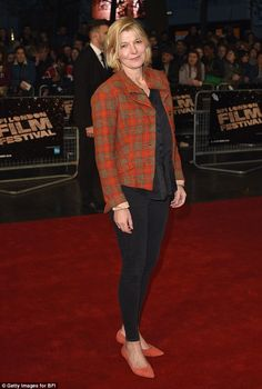 A bright touch: Jemma Redgrave sported an orange suit jacket and clinging black jeans with. Jemma Redgrave, Orange Suit, Holby City, Lily James, Cool Inventions, Film Awards, Doctor Who, The Twenties, Black Jeans