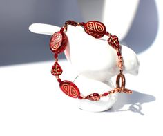 Red Glass Bead Bracelet by KatieBugCreations4U on Etsy