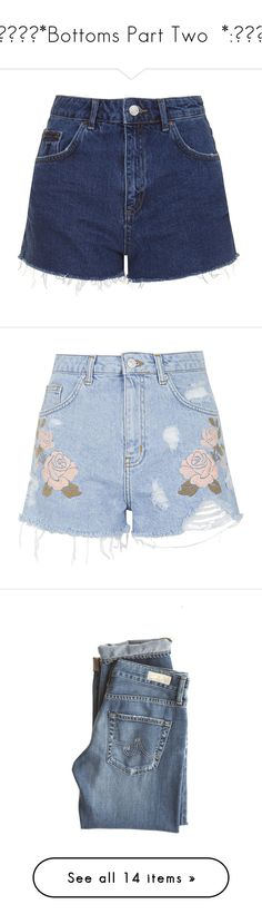 """""""✧・゚・*Bottoms Part Two  *:・゚✧"""" by the-other-half-of-vernon ❤ liked on Polyvore featuring shorts, bottoms, short, pants, indigo denim, short shorts, cut off short shorts, topshop shorts, cutoff shorts and indigo shorts"""
