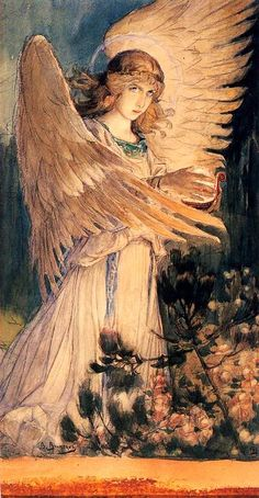 """Angel with a Lamp"" (1896), By Viktor Mikhaylovich Vasnetsov (1848–1926), Watercolor; gouache on cardboard. Sketch for a fresco in the Cathedral of St. Vladimir in Kiev. Moscow, Russia. #angels     Artist Biography: http://www.britannica.com/biography/Viktor-Mikhaylovich-Vasnetsov Additional Background: http://www.rusartist.org/viktor-mikhailovich-vasnetsov-1848-1926/#.VcbTO_lVjIM"