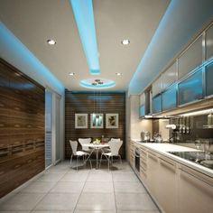 plafond lumineux, grande cuisine contemporaine, lumières led bleues