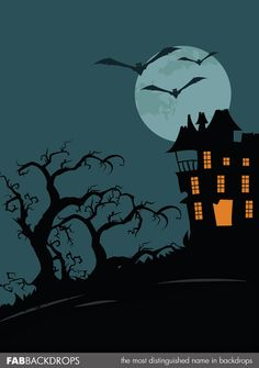 FabVinyl Classic Haunted House Halloween Backdrop is perfect for halloween party decor and photo booths Halloween Yard Art, Halloween Backdrop, Halloween Tattoo, Halloween Clipart, Halloween Haunted Houses, Halloween Invitations, Halloween Photos, Halloween Design, Halloween Party Decor